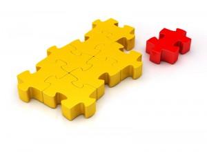 Puzzle mit letztem Teil (gelb)